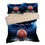 Amazing Shooting Action Basketball Court Cotton Microfiber 3pc 90''x90'' Bedding Quilt Duvet Cover Sets 2 Pillow Cases Queen Size