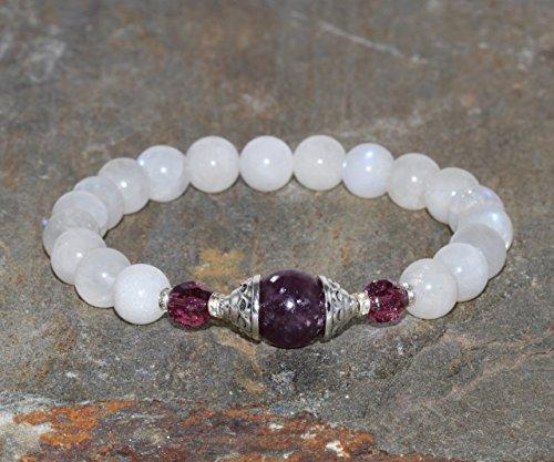 8mm Moonstone & 10mm Lepidolite Bracelet, Yoga Jewelry, Healing Crystals Goddess Mala Beads Feminine Energy,Czech + New Beginnings + Hormonal Balance