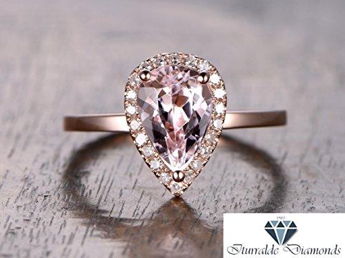 14k 6x9mm Pear Shape Morganite Engagement Ring Diamond Pave Halo Polished Band