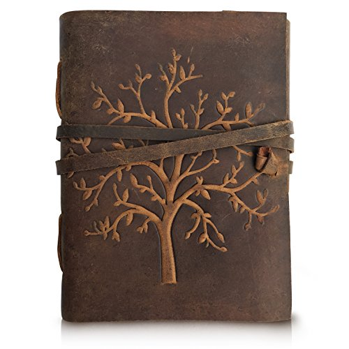 LEATHER JOURNAL Tree of Life - Writing Notebook Handmade Leather Bound Daily Notepads For Men & Women Blank Paper Large 8 x 6 Inches - Best Gift for Art Sketchbook, Travel Diary & Journals to Write in by Moonster