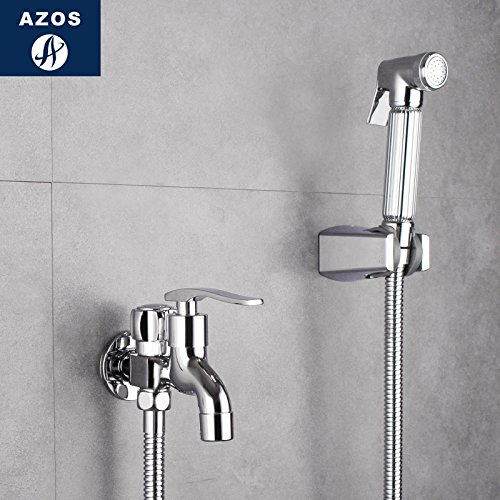Azos Bidet Faucet Pressurized Sprinkler Head Brass Chrome Cold Water Two Function Washing Machine Pet Bath Shower Room Round PJPQ019D by AZOS