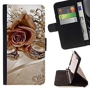 For Samsung Galaxy A3 Case , Anillos y rosas- la tarjeta de Crédito Slots PU Funda de cuero Monedero caso cubierta de piel