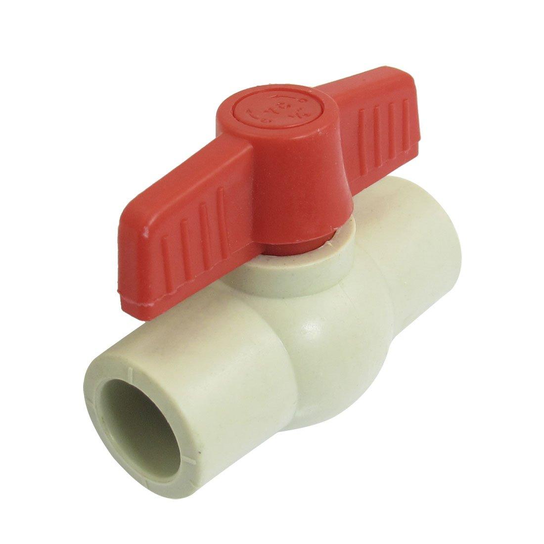 19mm x 19mm Slip Red Handle Plumbing PPR Ball Valve Light Gray sourcingmap