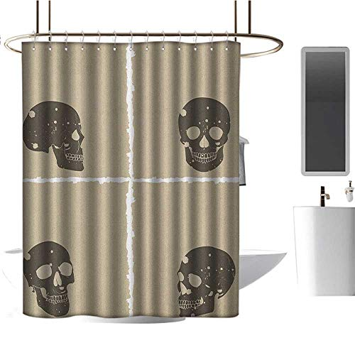 (Qenuan Colorful Shower Curtain Grunge,Skull Figure on Murky Flat Framework Halloween Crossbones Spooky Monster Image, Tan Dark Taupe,Hand Drawing Effect Fabric Shower Curtains)