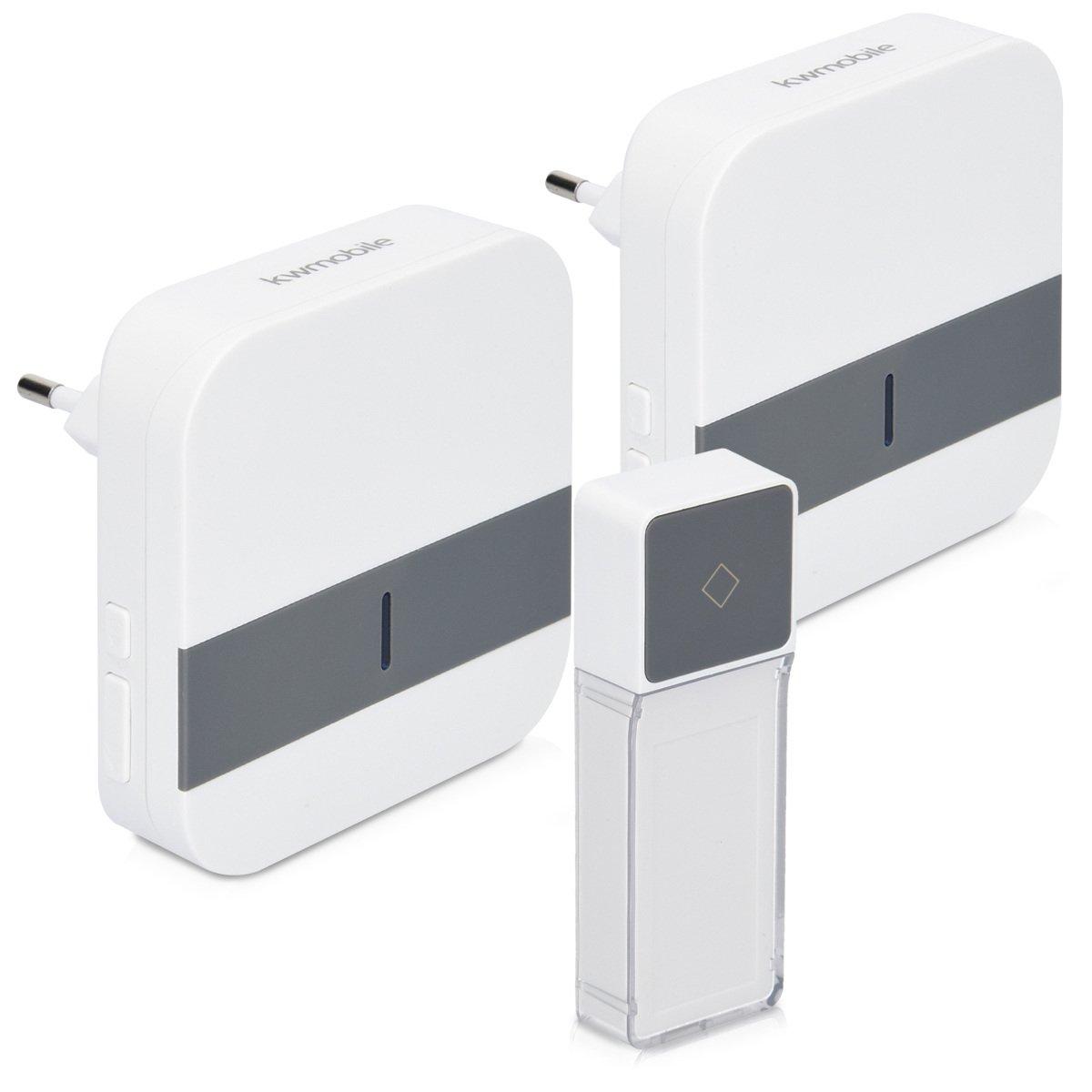 kwmobile Sonnette porte sans fil - Sonnette étanche maison jardin ou magasin 1x émetteur 2x récepteurs portée 300 m - 52 Sonneries - blanc gris product image