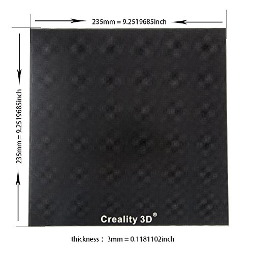 Creality Upgraded 3D Printer Platform Heated Bed Build Surface Glass Plate 235x235x3mm for Ender 3 Hot Bed by Creality 3D