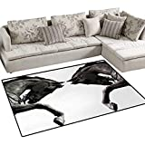 Sculptures,Carpet,Twin Contrast Horse Heads Statue Image Vintage Style Abstract Art Antique Theme,Area Silky Smooth Rugs,Bronze,36''x60''