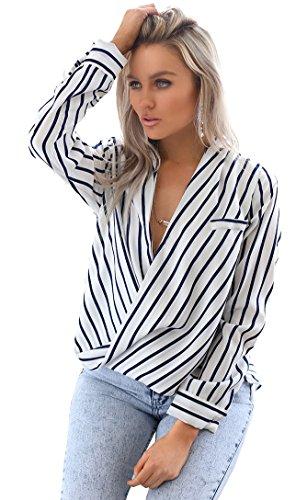 Eliacher Women's Casual Striped Chiffon Blouses Loose Wrap Front Surplice Long Sleeves Shirt (XXL, (White Stripe V-neck Top)
