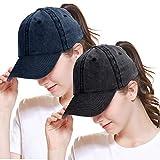 Women Baseball Cap Ponytail Hat High Bun Sun Hats Trucker Hat