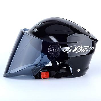 Casco De Moto Casco Eléctrico De Verano Casco De Verano Unisex Casco,Black
