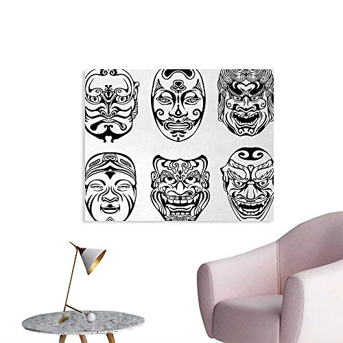 Tudouhoho Kabuki Mask Cool Poster Japanese Nogaku Theatrical Masks Showing Emotions Expressions Culture Wallpaper Black and White W28 xL20