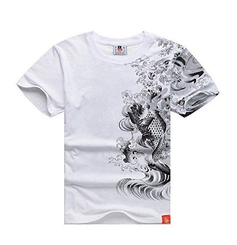 SSJ:Japanese Traditional Design [ Rising Carp T-shirts Two Color / Two Size for Men ] Kanji Tee (L, (Male Japanese Clothing)