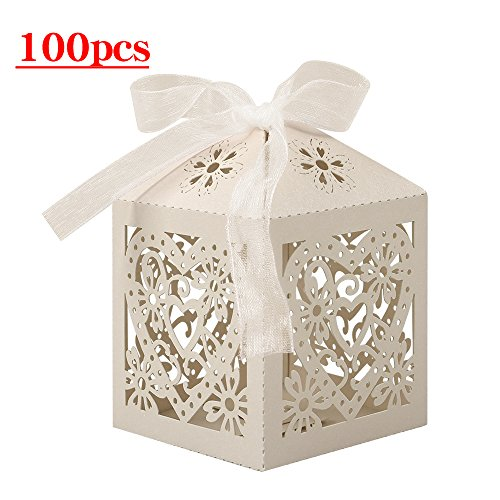 Bridal Shower Favors Cookies - Lucky Monet 25/50/100PCS Love Heart Laser Cut Wedding Candy Gift Box Chocolate Box for Wedding Favor Birthday Party Bridal Shower with Ribbon (100pcs, Beige)