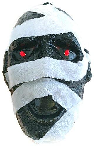 Spooky Halloween Decoration Plastic Mummy Mask with Light Up Eyes, Batteries (Blinking Led Eyes Halloween)