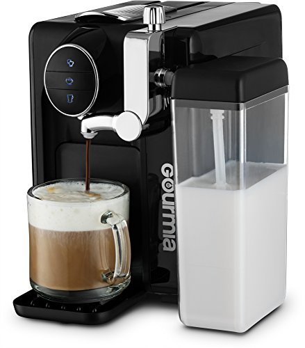 Gourmia GCM6500 One Touch Automatic Espresso Cappuccino & Latte Maker Italian engineered and components Coffee Machine Froth Milk In Cup with the Push of One Button Nespresso Compatible by Gourmia