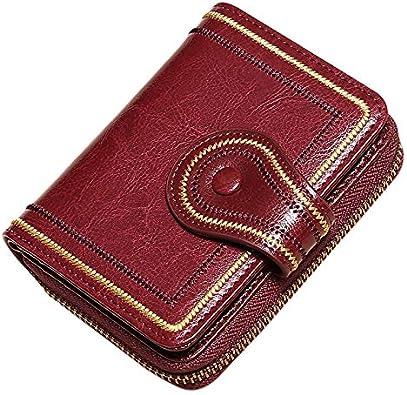 SODIAL Billetera de Cuero para Mujer Billetera de Cuero Suave Hecha una Mano Billetera Monedero Monedero Billetera Monedero de Color Rojo