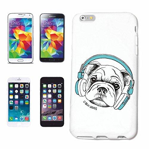 caja del teléfono Huawei P9 MOPS Bulldog CON AURICULARES TECHNO FUNKY JAZZ FESTIVAL DEL ALMA TRANCE CASA HIPHOP DJ HIP HOP Caso duro de la cubierta Teléfono Cubiertas cubierta para el Apple iPhone e