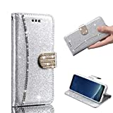 LLZ.COQUE For Samsung Galaxy S7 Edge Pocket Case, Luxury Bling Glitter PU Leather Folio Flip Case Sparkle Rhinestone Magnetic Stand Wallet Case Card Slots Soft TPU Bumper Cover-Silver