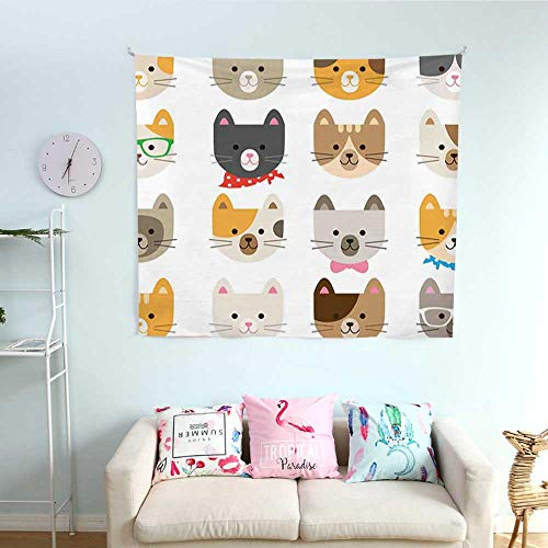 (Mannwarehouse Animals Wall Tapestry Cats Costume with Glasses and Bow Tie Bandana Cartoon Artwork Craft Pattern Print Colorful Tapestry 63W x 63L)