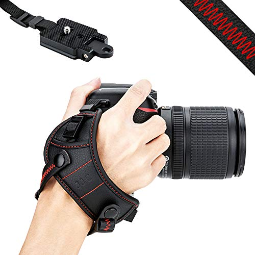 JJC DSLR Camera Wrist Hand Strap Grip w/Arca Swiss Type Quick Release Plate for Canon 7D 7DM2 6DM2 5DM4 5DM3 5Ds R 80D 77D 70D 60D T7i T6s T6i Nikon (Best Grip Strap For Dslrs)