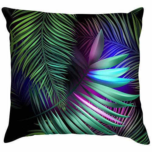 Neon Jungle Electric Tropical Glitch Summer Palm Nature Soft Cotton Linen Cushion Cover Pillowcases Throw Pillow Decor Pillow Case Home Decor 22X22 Inch]()
