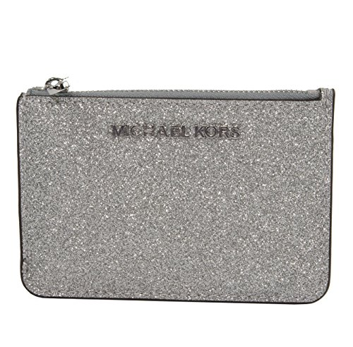 Michael Kors Silver Glitter Leather Jet Set Card Case Key Pouch - Glitter Michael Kors