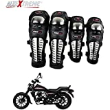 AllExtreme Knee Shin Guards Adult Alloy Steel Knee Pads Protector Flexible Breathable Adjustable Elbow Armor for Motorcycle Motocross Racing Mountain Bike One size Fits Most 4 Pieces Black