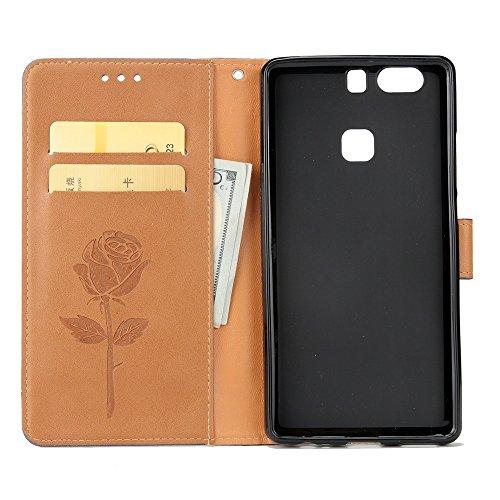 SRY-Conjuntos de teléfonos móviles de Huawei Con ranura para tarjetas, cordón y magnética hebilla de impresión Lindo teléfono plano Shell para Huawei P9 Plus Proteja completamente el teléfono ( Color  Brown