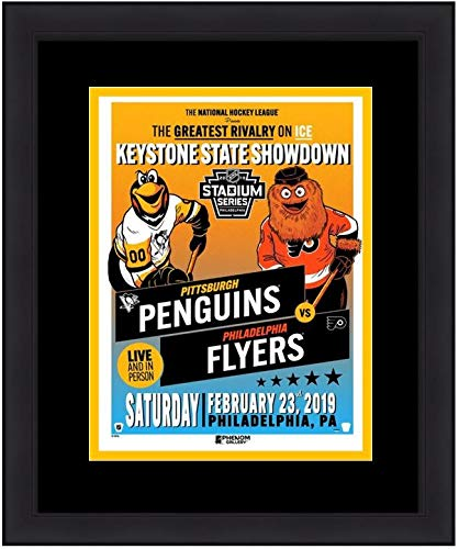 Flyers v. Penguins 2019 Stadium Series Officially Licensed Mascot Framed and Matted Poster (Penguins Colors) - Featuring Gritty and Iceburgh ()