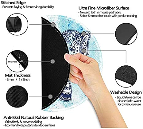 Nakapa Mouse Pad,Anti Slip Rubber Round Mousepads Desktop Notebook Mouse Mat for Working and Gaming Golden Pineapple