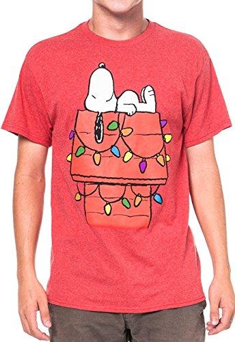 Peanuts Mens T-Shirt Snoopy Christmas Lights on Dog House Print Red (Christmas Snoopy)