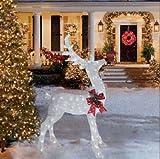 6 Foot Glittering White Buck Deer Sculpture Outdoor Christmas Yard Decoration Seasonal Display