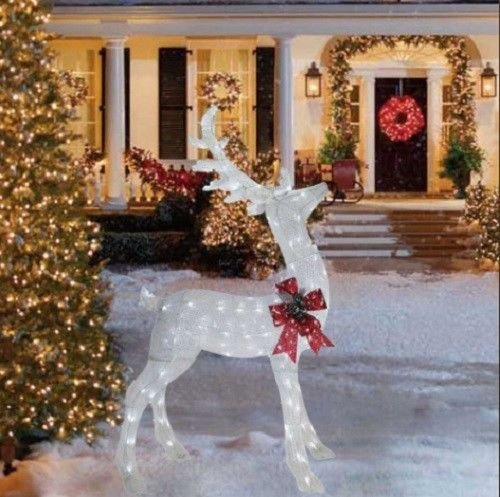 6 Foot Glittering White Buck Deer Sculpture Outdoor Christmas Yard Decoration Seasonal Display by Home Improvements