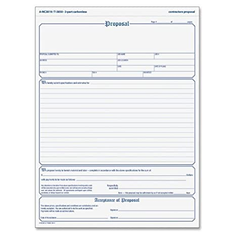 Amazon Top3850 Proposal Form Blank Purchase Order Forms