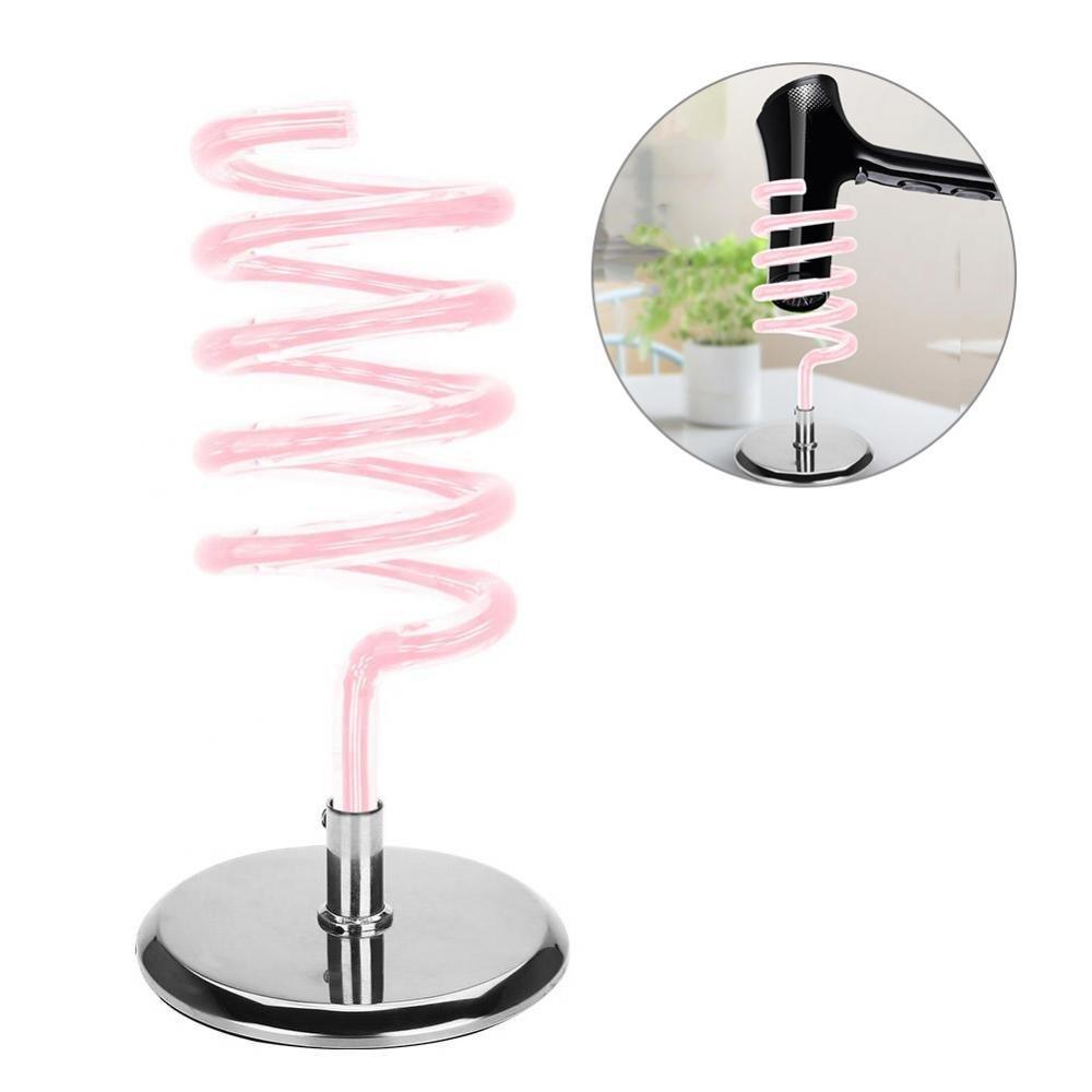 Hair Dryer Holder, Stainless Steel Base Salon Home Desktop Stable Acrylic Hair Dryer Holder(03# Pink)