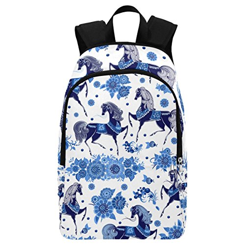 bdfd8d9a3ad5 InterestPrint Blue Horse Floral Custom Casual Backpack School Bag Travel  Daypack