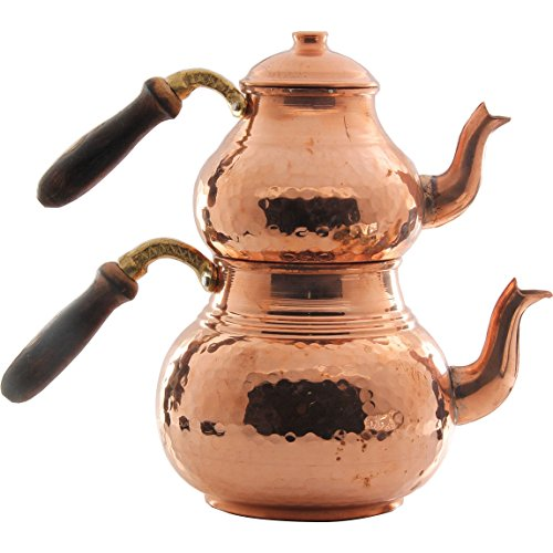 Turkish Traditional Handmade Handhammered Teapot Set Semaver Large 29cm-Copper