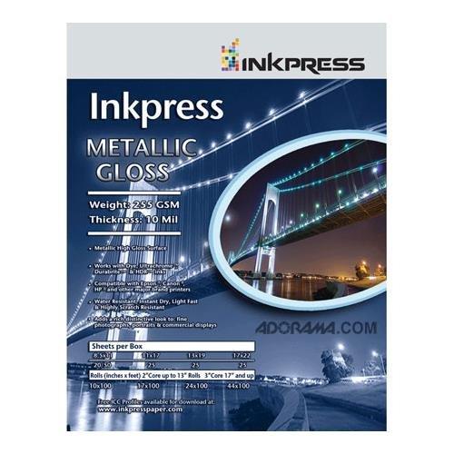 Inkpress Metallic Gloss Inkjet Paper, 255 gsm, 10 mil, Metallic Glossy Surface, 17''x100' Roll