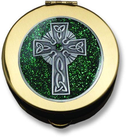Polished Brass Pyx - Green Celtic Cross - Small ()
