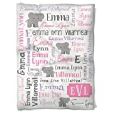 Have Faith Boutique Personalized Baby Blanket with Name- 30''x40''- Velveteen Fleece - Elephants