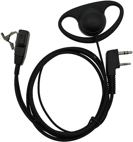 D-Shape 2-Pin Ear Hook Earpiece Headset Mic For Retevis Kenwood Baofeng Radios