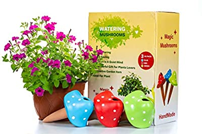 MIMA2672 Watering Spikes Terracotta-Plant Nanny, Watering Globes – Self-Watering Bulbs for Plants – 3-Piece Pack – Lovely Design – Slow Watering – Ideal for Vacation, Gift, Outdoor Plant Pot Watering
