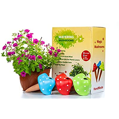 Mushroom Terracotta- Watering Globes - 3 Self Watering System Spikes - Automatic Plant Waterer Irrigation Drippers - Plant Watering Wands Keep Indoor Plants, Hanging Pots, Outdoor Garden Soil Moist