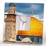 Cúpula Roca Al-Aqsa Mezquita Ciudad Vieja Jerusalén Reloj De Pared Espejo Arte Impreso Regalo