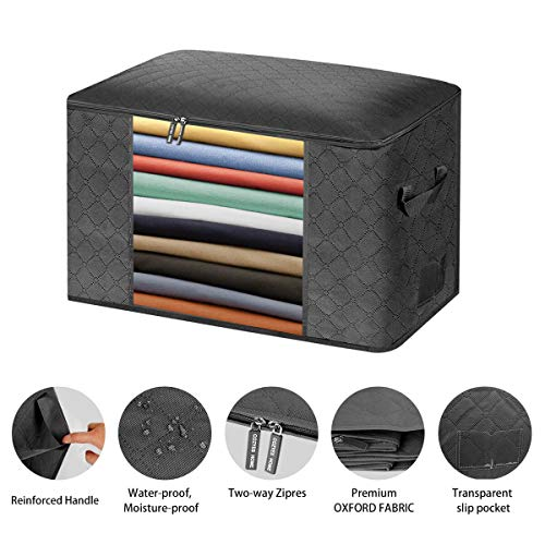 Black JOYXEON Clothes Storage Bags Closet Organizer Pack of 4 Large Capacity Closet Storage Bags 3 Layers Fabric Stainless Steel Zipper Sturdy Handle for Comforter Blanket Clothes 24 Gallon x4