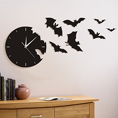 A Bat Clock from The Escape Clock Halloween Bat Silhouette Wall Clock Scary Bat Symbols Home Decor Contemporary Black Wall Watch