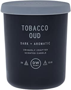 DW Home Tobacco Oud Scented 2 Wick Candle in a Glass Jar with a Rubber Lid