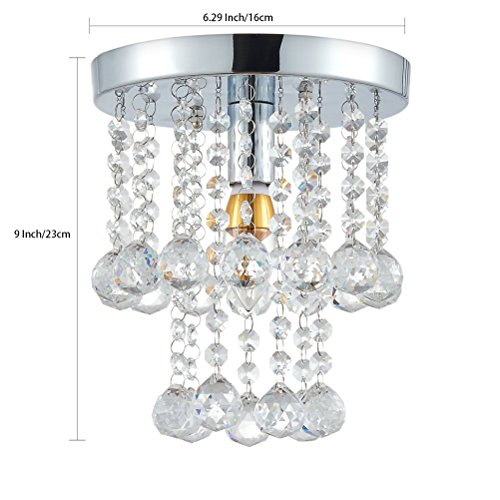 Review Mini Modern Crystal Chandeliers Flush Mount Rain Drop Pendant Ceiling Light for Girls Room,Bedroom(6.29Inch)