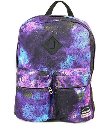 Alpine Swiss Major School Bag Backpack Bookbag 1 Year Warranty Galaxy