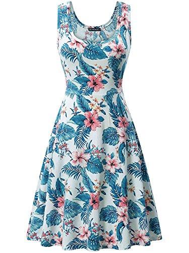 FENSACE Womens Floral Sleeveless Summer Beach Endless Tank Dress, Blue Floral, - Dress Print Confetti